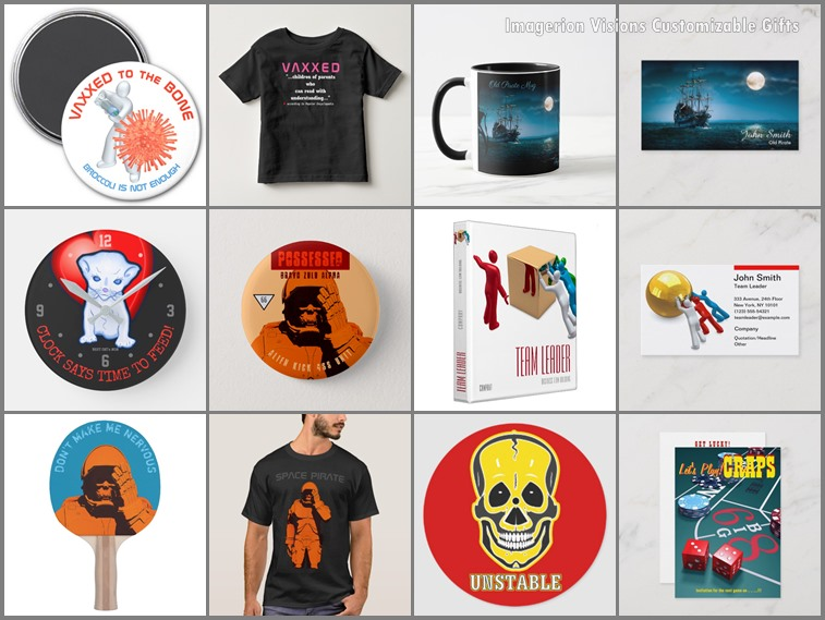 Sample products featuring our designs, like T-Shirts, mugs, business cards, postcards, pin buttons and more